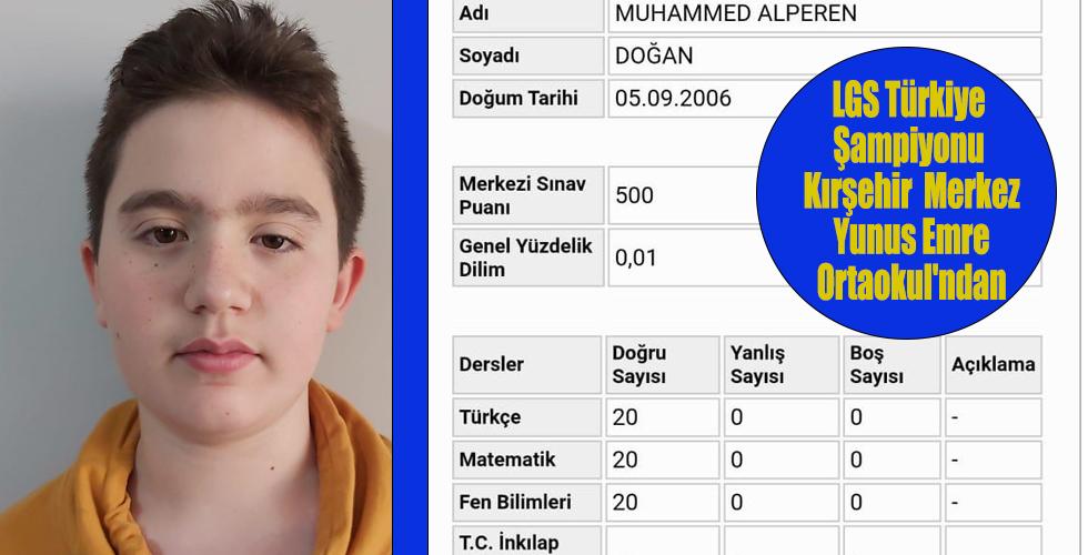 LGS Türkiye Şampiyonu Kırşehir Merkez Yunus Emre Ortaokul'ndan