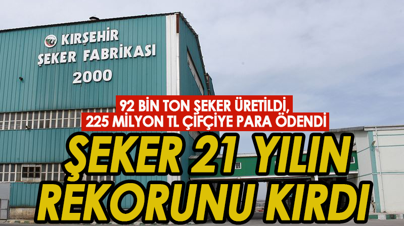 Kırşehir Tutgu Şeker, 21 yılın rekorunu kırdı