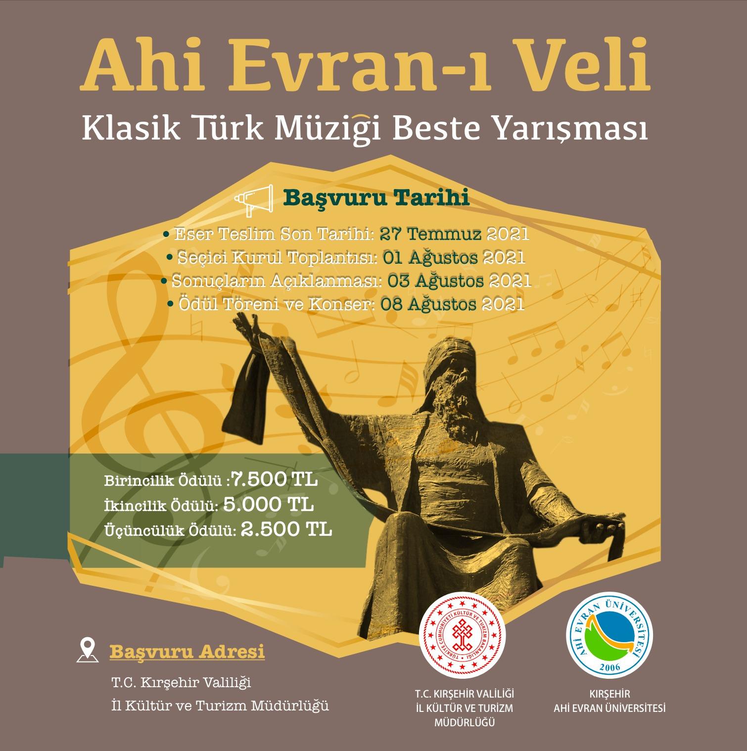 """Ahi Evran-ı Veli""""temalı Klasik Türk Müziği Beste Yarışması"""