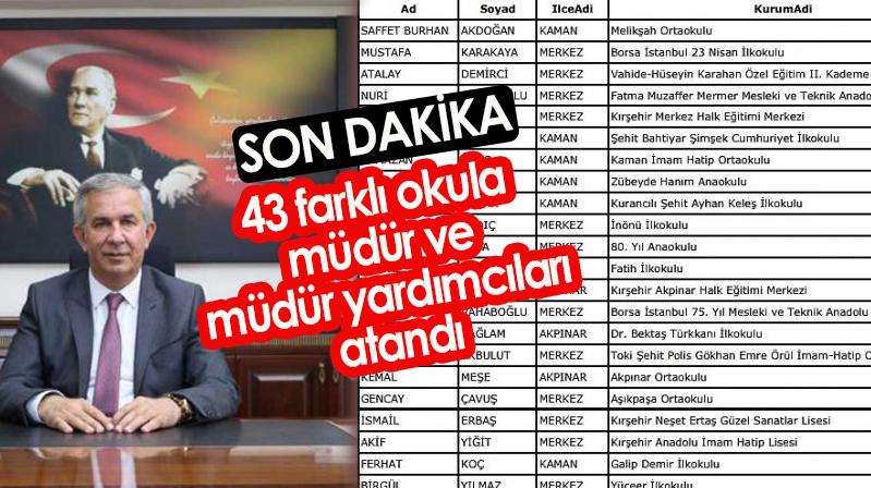 43 farklı okula müdür ve müdür yardımcıları atandı