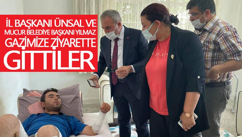 İl Başkanı Ünsal, yaranan askere geçmiş olsun gitti